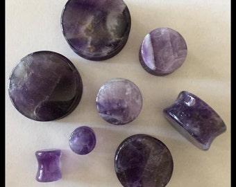 PICK SIZE  Amethyst Stone Organic Stone Plugs