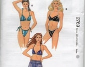 String Bikini Lined Cups Self Fabric Ties Shoulder Straps Shorts Swimsuit Bathing Suit Size Xsml Sml Med Lrg Sewing Pattern Kwik Sew 2769