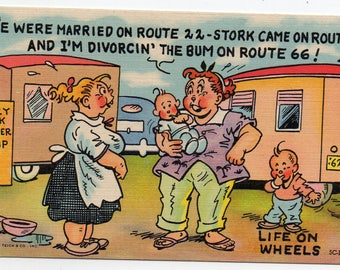 Vintage Postcard Mid Century Modern Route 66 Life On Wheels Joke Trailer Park Cartoon Mobile Home