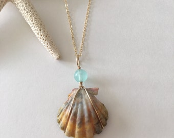 Seashell Jewelry … Sunrise Shell With Glass Bead Necklace (1544)
