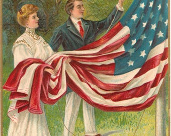Vintage Postcard, Memorial Day Postcard, Flag Raising, Artist Signed Chapman, ca 1910