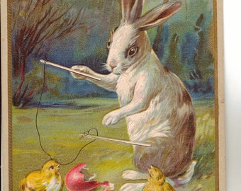 Vintage Easter Postcard, Rabbit Playing with Easter Chicks, 1914