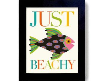 Just Beachy Fish Art Beach Decor Caribbean Art Key West Florida Art Beach House Florida Style Seashore Seaside Ocean Print Nautical Theme