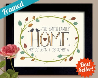 Family Name Gift Housewarming Gift Latitude Longitude Sign Realtor Gift Personalized Wedding Gift Newlywed Gift Welcome Gift First Home
