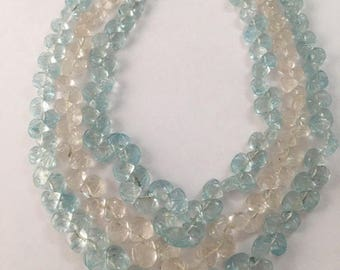 Aquamarine necklace heart carvings blue aquamarine heart carvings necklace 16 inches,18inches and 20 Inches aquamarine carved necklace