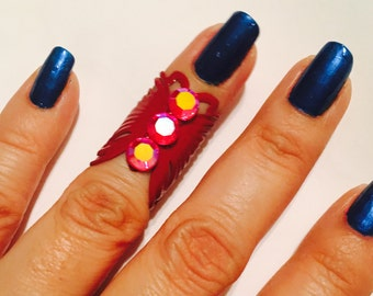 Butterfly midi ring or knuckle ring, made in ted color filigree, adorned with siam red ab crystals 1 pc. Only.