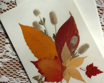 PRESSED AUTUMN LEAVES Card - Colorful Preserved Fall Foliage, Special Occasion Blank Stationary Greeting Card, Forest Leaves, Card for Him