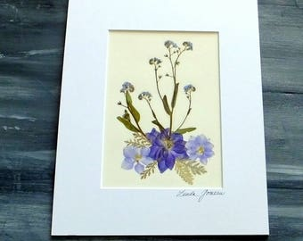 PRESSED FLOWER ART - Colorful Pressed Flowers Garden Bouquet, Matted and Ready to Frame Art Picture, Home Decor, Blue Flowers
