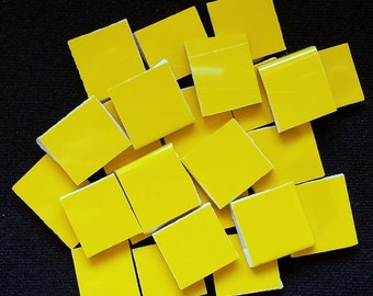 Mosaic Tiles Bright Yellow Tiles Hand Cut