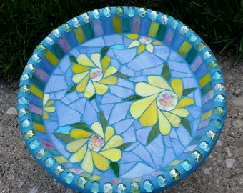 Mosaic Bird Bath Yellow Purple Garden Bird Feeder