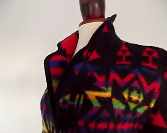 SALE:)) INKA RAINBOW . Fantastic Blanket Wool Geometric Ethnic Inka Maya Aztecs Print Jacket Coat Made In Italy S/M