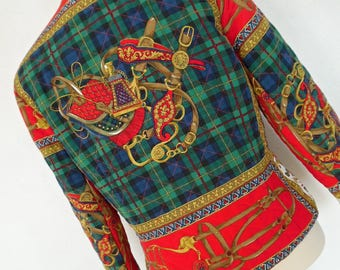 SALE :) HERALDIC BAROQUE .   Military Renaissance Scarf Print Jacket 80s Equestrian Rococo Art Nouveau Quilted