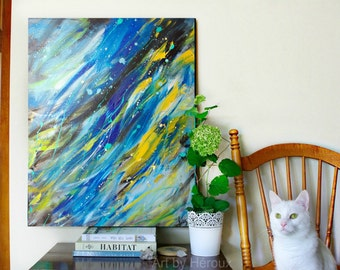 """Blue and yellow abstract painting Blue abstract art navy painting modern art modern paintings on canvas Home decor for wall Original 24x30"""""""