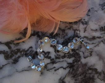 Beautiful Rhinestone, Diamond Look Bracelet. Old Hollywood Glitz.