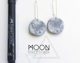 Hand Painted Textured Full Moon Earrings - Full  Moon - Space - Silver - Cresent Moon - Jewelry - Moon Earrings