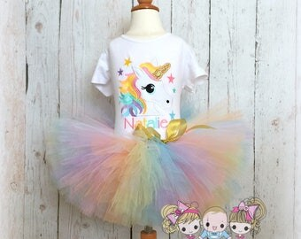 Unicorn birthday outfit - rainbow unicorn tutu outfit - 1st birthday unicorn outfit - unicorn costume - pastel rainbow unicorn tutu outfit