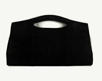 70s 80s Saks Fifth Avenue Black Suede Leather Clutch Handbag