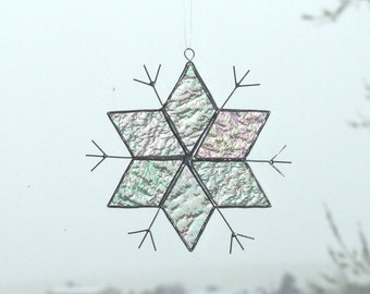 Stained Glass Clear Iridescent Textured Snowflake Sun Catcher