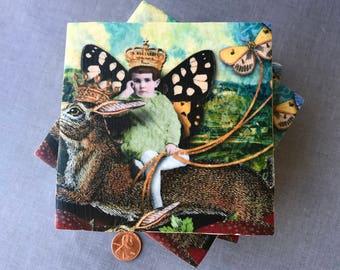Girl Queen Riding a Rabbit Coasters