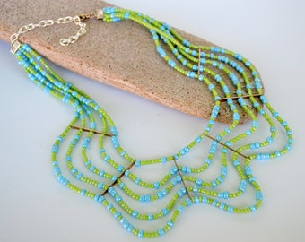 Wave Necklace, 5 Rows of Aqua and Lime Seed Beads, Light and Airy Statement Necklace, Available in Other Colors, Gift Boxed