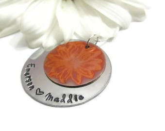 Mothers Necklace - Personalized children names - Flower Copper Charm - Sterling Silver Necklace - Ready to ship -Mothers Day jewelry