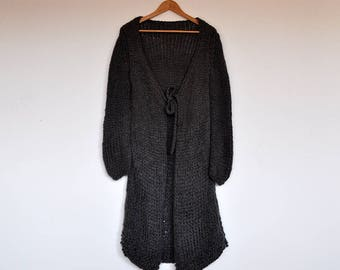 Vintage Grey Handmade Loose Boho Oversized Chunky Knit Long Cardigan