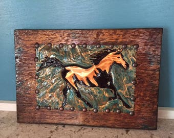 Rustic Wood Horse Wall Hanging, Copper, Western Horse Wall Hanging, Repurposed Old Wood, Copper and Wood Decor