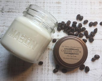 Caramel Latte scented all natural soy candles coffee scent pure soy candles coffee candle coffee shop barista coffee bean Montana candles