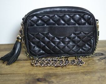 Vintage Black Quilted Leather Small Chain Strap Crossbody Bag