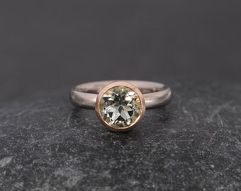 Green Amethyst Engagement Ring in 18K Gold - Green Gemstone Engagement Ring - Solitaire Ring Set in 18K Rose and White Gold  FREE SHIPPING