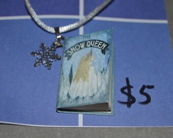 Book charm necklace & matching earrings: Snow Queen