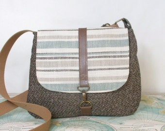 Illinois // Crossbody messenger bag // Adjustable strap // Vegan purse // Crossover bag // Travel purse // Stripes //Tweed //  Ready to ship