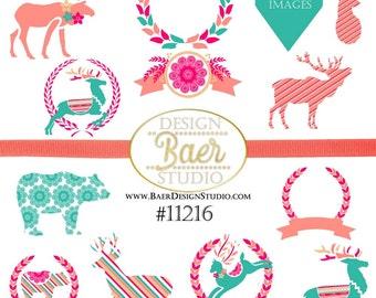 50% off:Clip Art Christmas, Reindeer Clip Art, Wreath Clip Art, Bear Clipart, Comercial Use, Moose Clip Art, Deer Head Clip Art, #11216