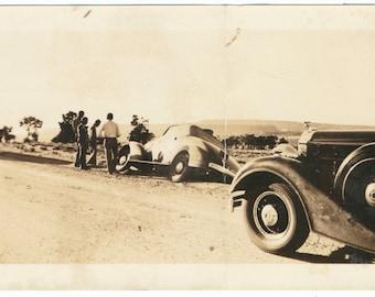 Off the Road Car Wreck vintage original old photograph photo ephemera found vernacular social realism mid century Pontiac Pierce Arrow