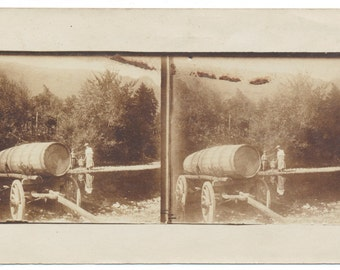 RPPC stereoview Real Photo Postcard French photograph Wine Casket Trailer Winery Chateau
