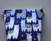 Llamas Wedge Zippered Pouch Project Bag In Stock, Ready to Ship