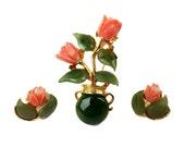 Vintage Swoboda Vase Brooch & Clip Earrings Set, Green Jade Leaves, Carved Pink Salmon Angel Skin Coral Flower Bouquet in Urn Pot, Signed