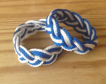 Two Sailors knot Turks head Beach summer blue and white  paracord rope bracelets 3 strand