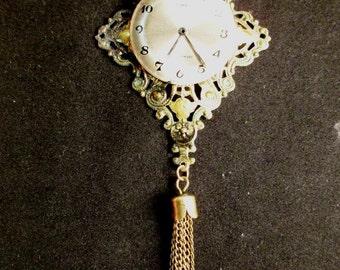 Steampunk Long Filigree Watch Necklace