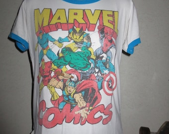 vintage t-shirt Marvel Comics ringer t size large color white