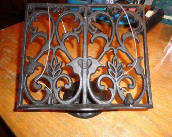 Retro Rustic Wrought Iron Book Stand Holder with adjustable base in Mint Condition that is both decorative and functional with page weights