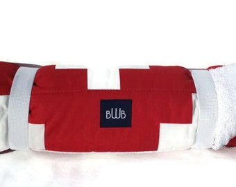 Dog Bed - Red Swiss Cross  Dog Travel Bed Roll