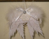 Fluffy Angel Wing Ornament Made With Venise Lace and Pearls