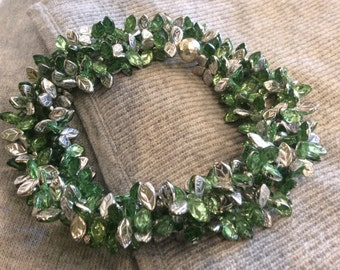 silver & peridot leaf necklace . long statement necklace