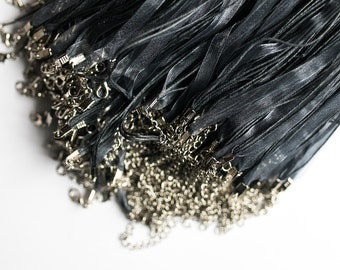 100 Grey Organza Necklaces with Waxed Cord & Clasp -  4 Strands - 17 inch -  Ships IMMEDIATELY  from California - CH748b