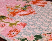 Handmade Quilted Kitchen Gift Set, Floral, Butterfly, Table Runner and Placemats, Table Topper, Pink, Orange, Aqua, Green, Table Decor