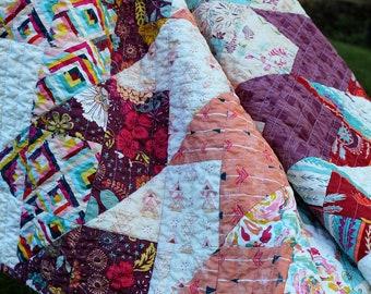 Handmade Baby Girl Quilt, Boho Quilt, Fleet and Flourish Fabric, Crib Quilt, Small Lap Quilt, Boho nursery, blanket, Wheel Chair Quilt