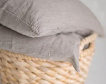 Pair of Linen Euro Shams Grey Gray Flax Handmade Eco