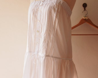 Pure White Boho Tunic Blouse Top Pure White Cotton Halter Blouse Comfy Summer Time Memorandum Blouse