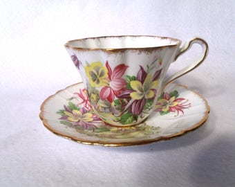 """Royal Staffordshire """"Aquilegia"""" English China Floral Teacup and Saucer"""